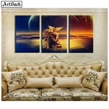 ArtBack three fight 5d diamond painting Buddha angel wings full square diy 3d mosaic religious wall sticker