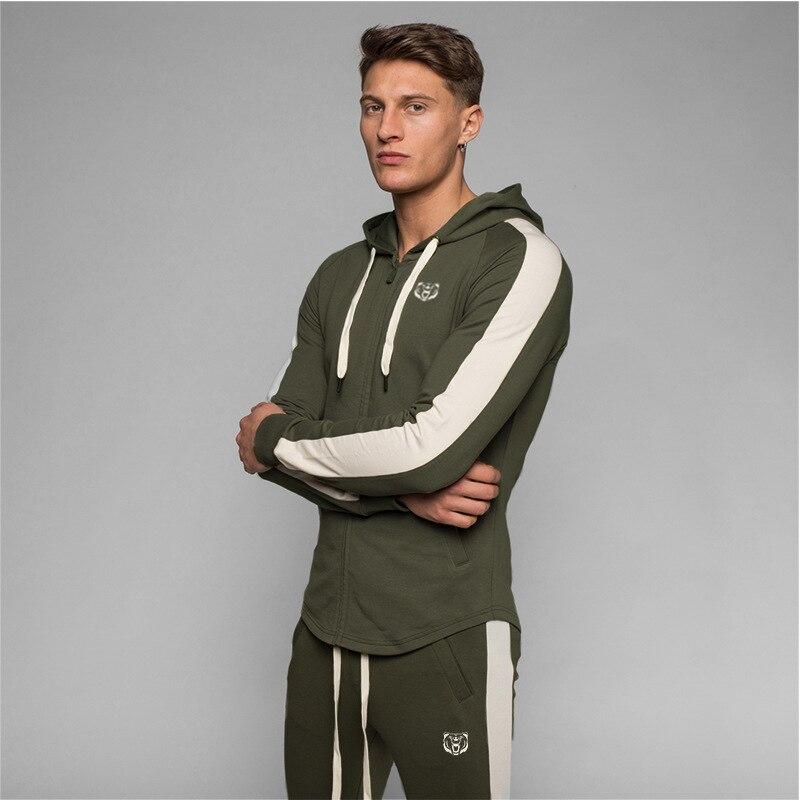 Autumn Men Gyms Fashion Hoodies Gyms Fitness Bodybuilding Sweatshirt Pullover Sportswear Male Workout Casual Hooded Jacket