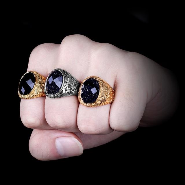 Acier inoxydable hommes anneaux strass sculpté fleur étoilé nuit PunkFor Biker mâle petit ami bijoux créativité cadeau en gros