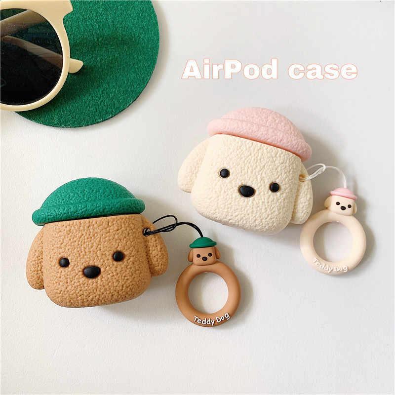 AirPods ためケース韓国インかわいい 3D クマイヤホン Apple の Airpods 漫画指リングストラップでプロテクトカバー