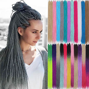 30-Roots/Pack Synthetic Braiding-Hair Crochet Senegalese Grey Pink Blue Ombre Women 24inch