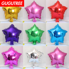 Decorate Home 10inch Gold Red Green Blue Pink Star Foil Balloon Wedding Event Christmas Halloween Festival Birthday Party HY-17