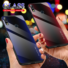 UYFRATE Carbon Fiber Gradient Texture Tempered Glass Case For ASUS Zenfone Max Pro M2 ZB631KL Max Pro M1 ZB602KL ZB601KL ZB633KL цены