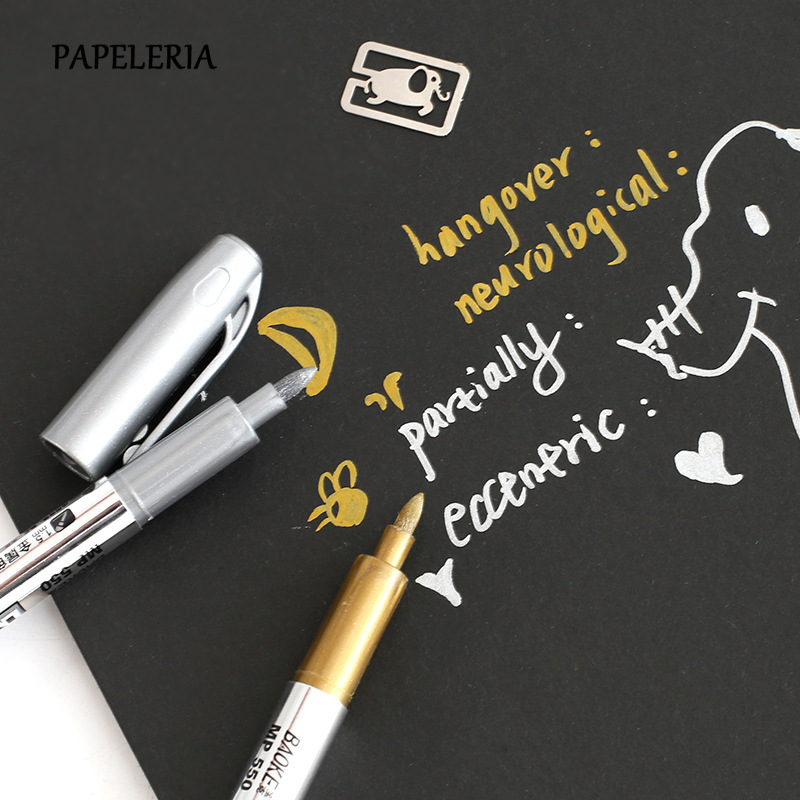 PAPELERIA 2pcs Metal Fabric Markers Pens DIY Journal  Paint Marker Gold Silver Color Metalic Graffiti Art Stationery Supplies