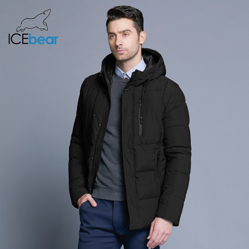 ICEbear 2019 nouveau hiver hommes veste simple mode manteau à capuche tricot manchette conception homme thermique mode marque parkas MWD18926D