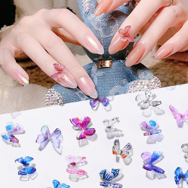 2Pcs DIY Handmade Butterfly Designs Nail Tips Decoration Colorful Butterfly Fairy Bling Nail Art Rhinestone Manicure Accessories