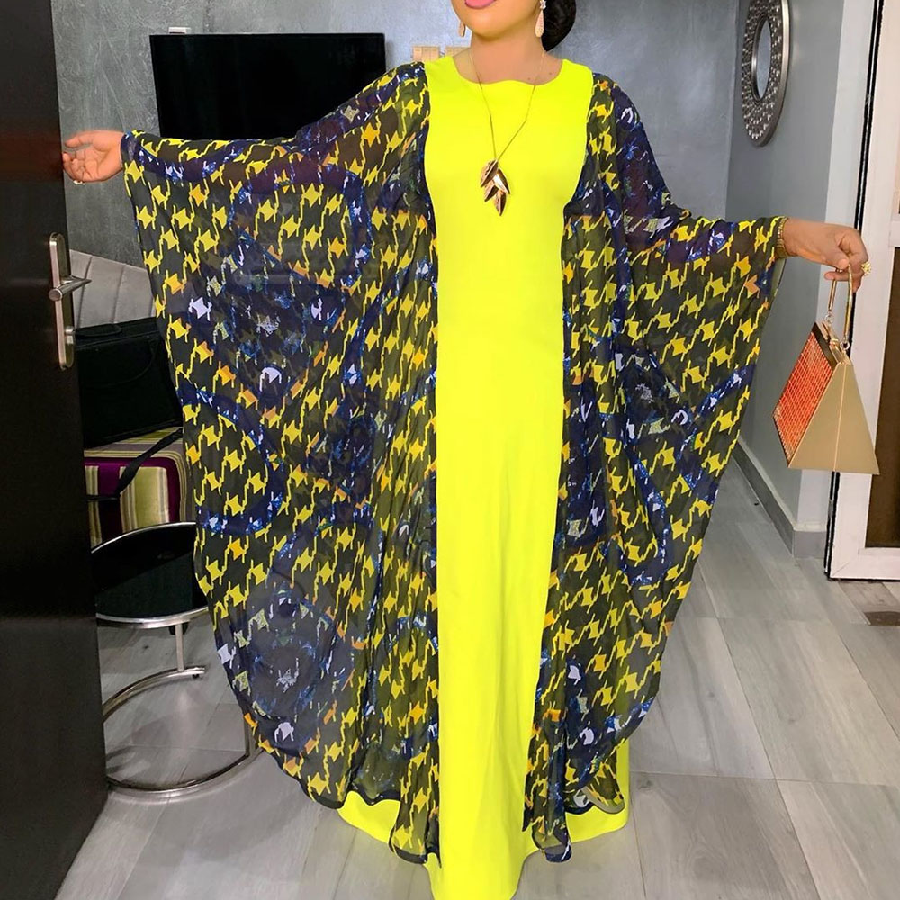 Women Vintage Yellow Dress Spring Summer Long Batwing Sleeve Casual Loose African Ladies Oversize Dinner Party Maxi Long Dress