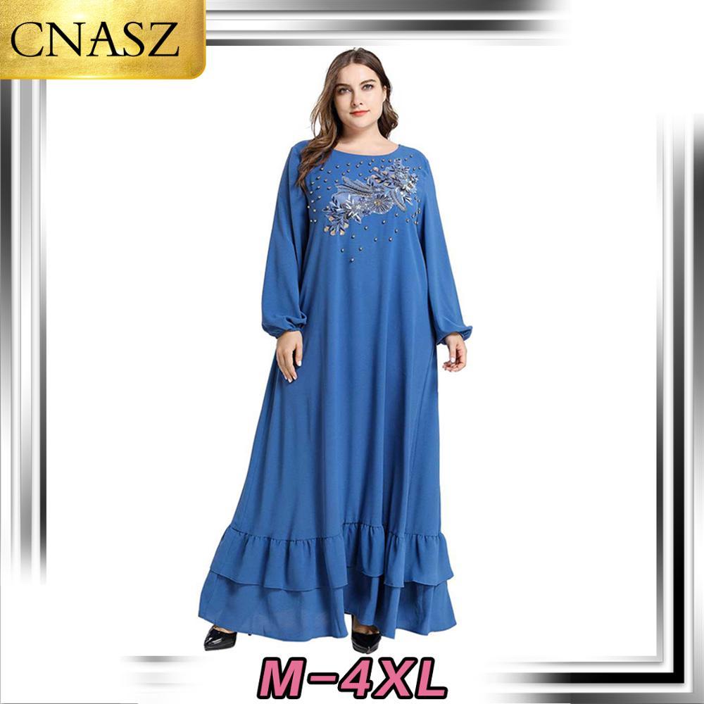 Middle East Muslim Large Size Women Islamic Turkey Embroidered Beaded Long-Sleeved Large Swing Muslim Skirt Dubai Arab Morrocan