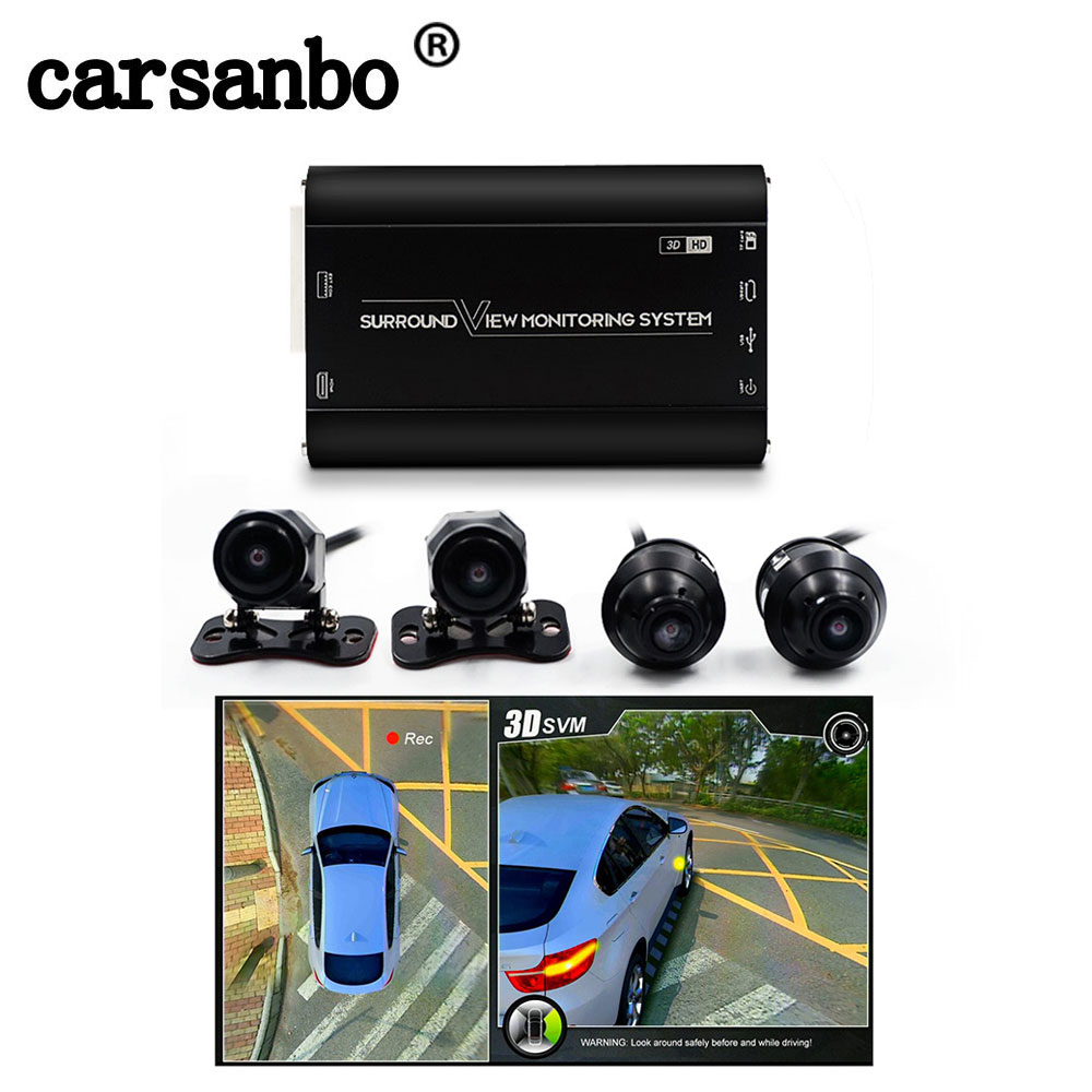 Universal 1080P HD 3D 4 Camera 360 Degree Bird View System Surround View Panoramic System Car DVR Recording Function