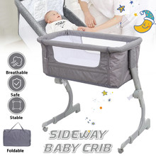 Crib for baby Lift Arc Portable Adjust Height Infant Can Combine Adult Bed, Foldable Newborn Bassinet