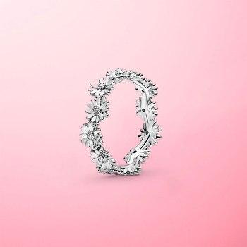 цена Authentic 925 Sterling Silver Sparkling Daisy Flower Crown Finger Ring For Women Original Silver Jewelry Best Gift онлайн в 2017 году
