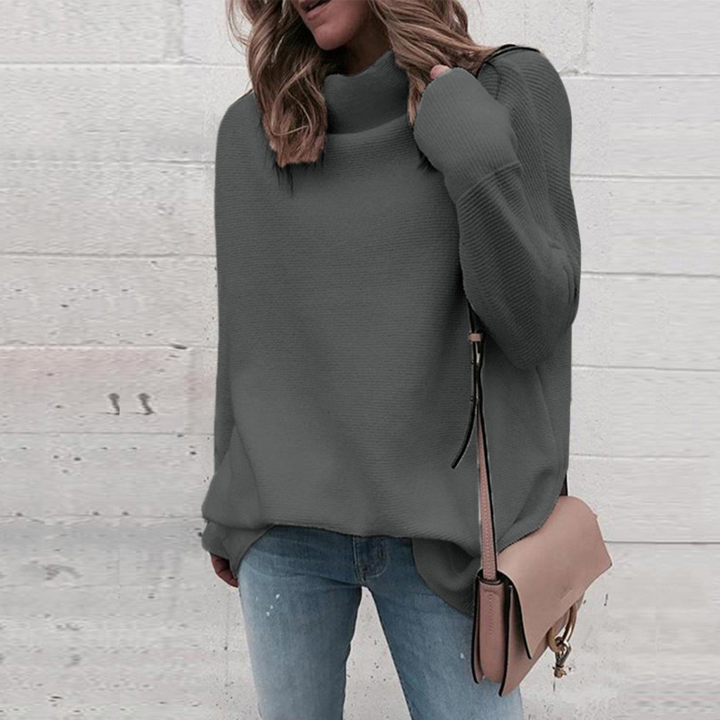 Autumn winter women sweater 2020 fashion loose Long sleeve women Turtleneck Knitted sweater thick Pullover femme Jumper #829