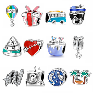 New 925 Sterling Silver round shape chram beads Fit designer charms Jewelry for women Jewelry Making