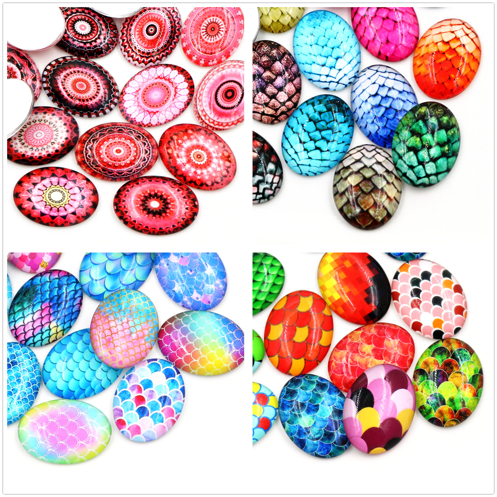 5pcs/Lot 30x40mm New Fashion Color Classic Handmade Photo Glass Cabochons Pattern Domed Jewelry Accessories Supplies