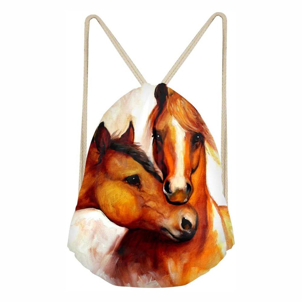 Horse Bag Drawstring Bags Unisex Bag 3D Digital Printed Drawstring Backpack Non-Woven Travel Casual Backpack Mochila Feminina