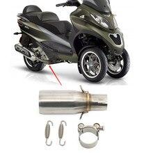 Silenciador de escape para motocicleta, cano médio para escapamento, para piagem beverly300 mp3 2009-2016, escapamento tubo de tubulação