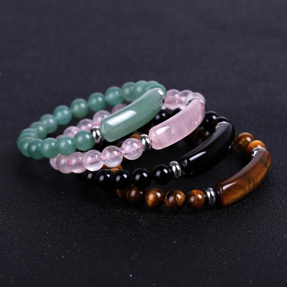 Natural Stone Strand Bracelet 8mm Reiki Healing Pink Quartz Aventurine Agates Rose Crystal Rectangle Bar Charm Beaded Bracelets