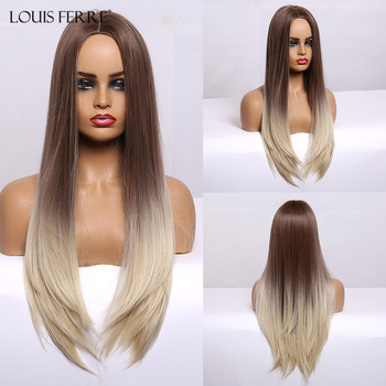 LOUIS FERRE Long Silk Straight Synthetic Wigs Brown Blonde Ombre for Black Women Middle Part Cosplay Heat Resistant Fibre - discount item  52% OFF Synthetic Hair