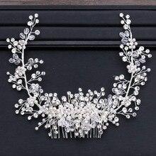 GETNOIVAS Luxury Tiara Shiny Crystal Pearl Beads Hair Comb Crown Bride Hairband Headband Bridal Wedding Hair Accessory SL