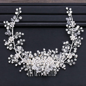 Image 1 - GETNOIVAS Luxury Tiara Shiny Crystal Pearl Beads Hair Comb Crown Bride Hairband Headband Bridal Wedding Hair Accessory SL