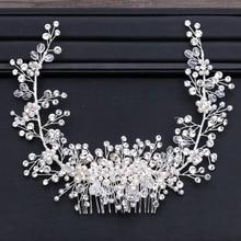 Getnoivas Luxe Tiara Shiny Crystal Parel Kralen Haar Kam Kroon Bruid Haarband Hoofdband Bridal Wedding Haar Accessoire Sl