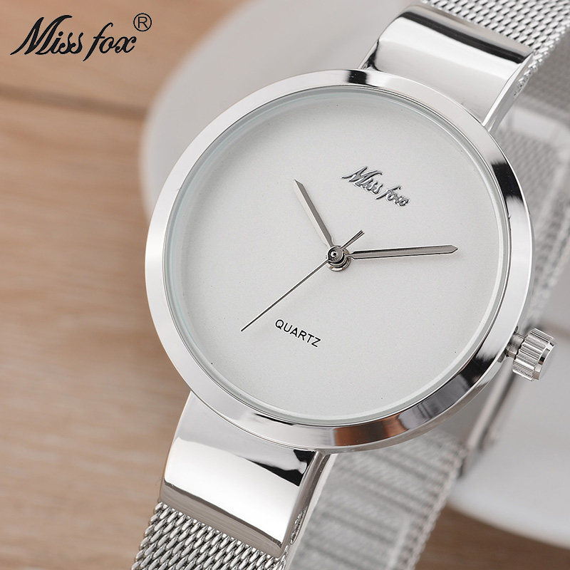 MISSFOX Sliver Woman Watch Simple White Dial Wristwatch Stainless Steel Mesh Bracelet Watches For Women Wholesale  New Arrivals
