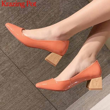 Krazing pot elegant solid genuine leather shoes slip on loafers square toe high heels women spring daily wear dating pumps L43