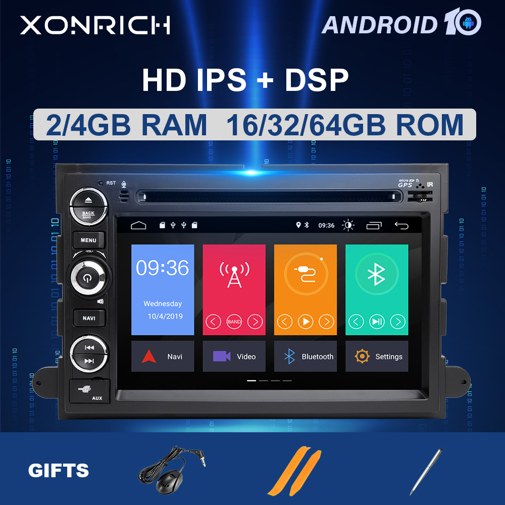 2 <font><b>Din</b></font> Android 10 Auto DVD Player <font><b>F</b></font>ür Ford F150 F350 F450 F550 F250 Fusion Expedition Mustang Explorer Rand Multimedia radio 64 GB image