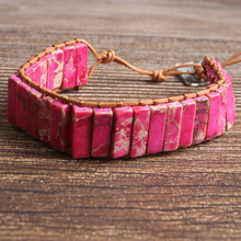 LanLi natural Jewelry cuboid  rose red The emperor stone knit bracelet men and women Giving presents self use