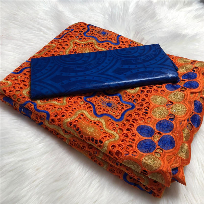 Best Quality  Fabric Soft Swiss Voile Lace In Switzerland French Lace Fabric African Bazin High Quality 2.5+2.5 Yard/set