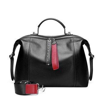Luxury designer ladies handbag leather ladies shoulder messenger bag retro Boston casual handbag rivet black wallet