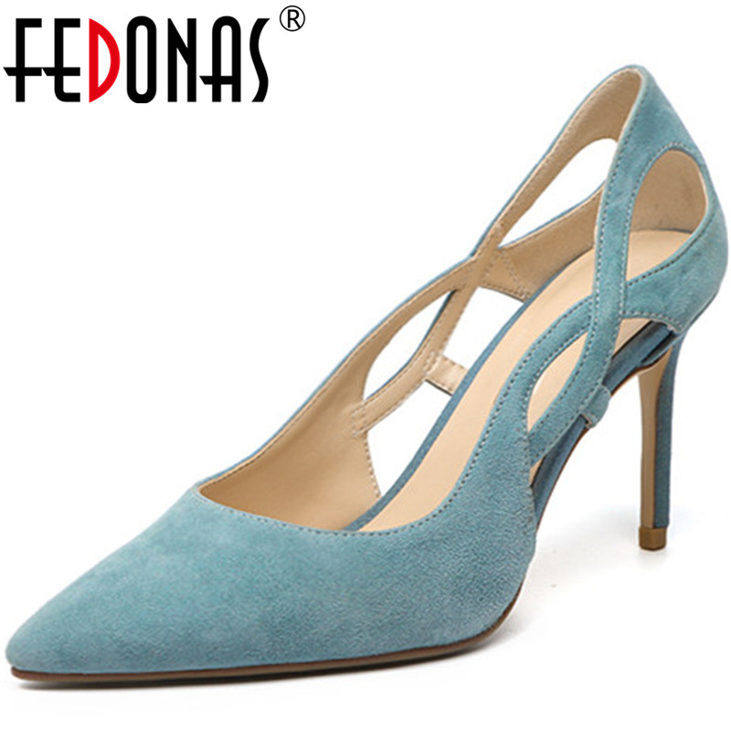 FEDONAS New Brand Design Spring Summer Point Toe Women Wedding Prom  Pumps Fine Heels Shallow Elegant Shoes Woman