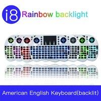 I8 Inglês Rainbow Retroiluminado 2.4G Mini Teclado Sem Fio com Mouse TouchPad para O Google Android TV Box  mini PC  Laptop AZERTY