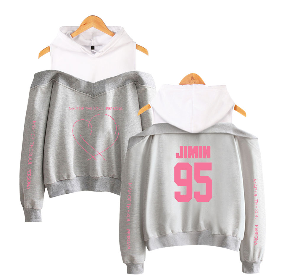 Hot Sales BTS Map Of The Soul Persona Celebrity Style Women's Off-Shoulder Hoodie