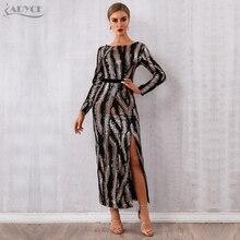 Женское вечернее платье ADYCE, платье макси с блестками, глубоким вырезом на спине и длинным рукавом в стиле звезд, для клуба, для зима