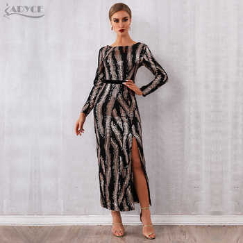 Adyce 2019 New Winter Sequin Celebrity Evening Runway Party Dress Women Vestidos Sexy Backless Maxi Long Sleeve Night Club Dress - DISCOUNT ITEM  37% OFF All Category