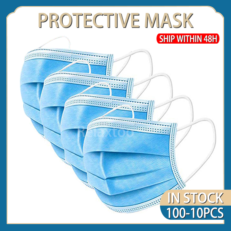 100PCS Disposable Masks Anti Gas Dust Face Mask Protective Mask Dust-proof 3 Layers Non Woven Soft Mask Shipped Within 48 Hours