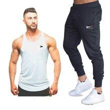 Nueva camiseta sin mangas de algodón a la moda + Pantalones para hombre, Camiseta deportiva para hombre, camiseta culturismo, Camiseta deportiva para gimnasio, conjuntos de Fitness