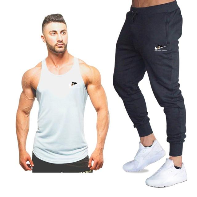 Yeni moda pamuk kolsuz gömlek tank top + pantolon erkek spor gömlek erkek atlet vücut geliştirme egzersiz spor salonları yelek spor setleri