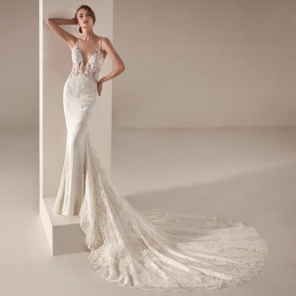 Sexy V-neck Backless Boho Vestido De Noiva White Ivory Mermaid Bride Wedding Dresses Luxyry Lace 2020 New Bridal Gown