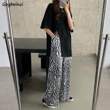 Setleri kadın o-boyun yan yarık boy Harajuku baskılı paspas gevşek artı boyutu 2XL Streetwear moda kadın kore eğlence şık