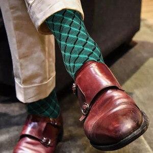 DOIAESKV джентльменские носки, деловые мужские носки, чесаные хлопковые модные носки в британском стиле со стразами, мужские носки для всех сез...