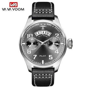 VA VA VOOM NEW Waterproof Men Watch Business Casual Quartz Watches Date Display Wristwatch Leather Strap Watch man montre homme