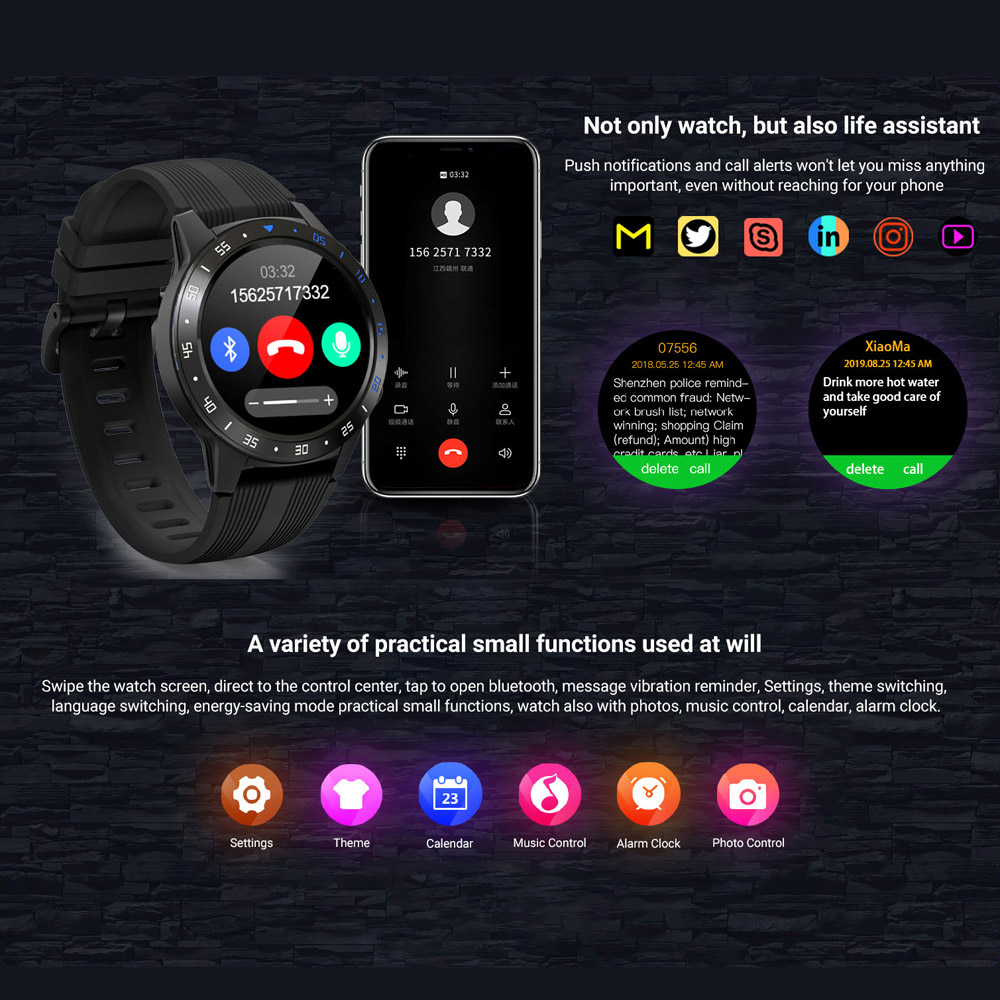 2020 Sports Smart watch men with music player siri GPS Dial Smartwatch SIM Card Pedometer for Android IOS Phone Fitness Watches