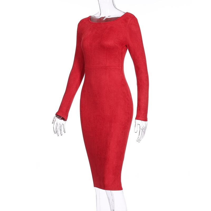 Suede Long Sleeve O-Neck Pencil Bodycon Dress 4