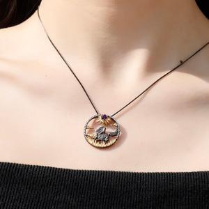 Image 2 - GEMS BALLET 925 Sterling Silver Natural Red Garnet Gemstone Handmade Sun & Horse Pendant Necklace For Women Zodiac Jewelry