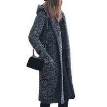 OEAK 2019 Autumn Winter Women Harajuku Long Cardigan Ladies Knit Sweater Large Coat Casual Solid Jacket With Pockets