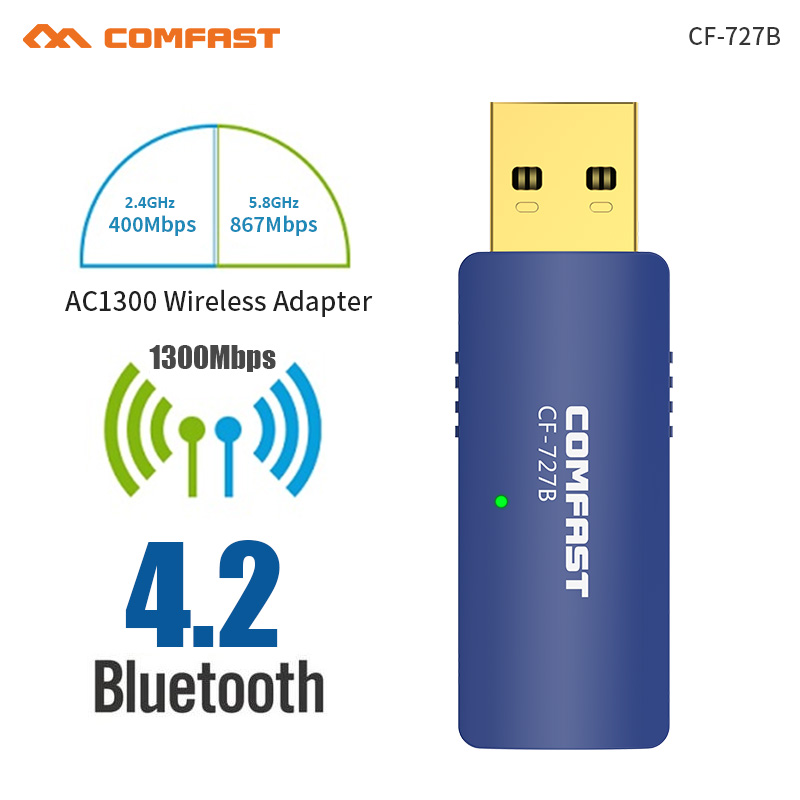 20pc 1300Mbps USB Wireless 2.4G&5G Wifi Adapter Network Card Bluetooth 4. 2 dongle Dual Band 802.11AC Antenna For Laptop Desktop