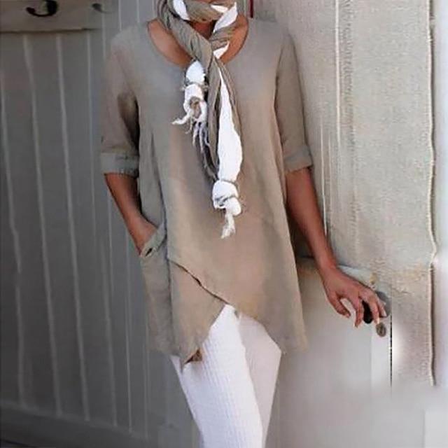 Irregular Hem Solid Loose Woman Blouses Shirts Vintage Casual O-Neck Long Sleeve Shirts Tops Elegant Vintage Female Blouses Robe 2