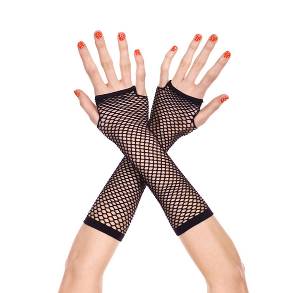 Fishing Net Gloves Long Section Womes Gloves Solid Gloves Punk Goth Lady Disco Dance Costume Lace Fingerless Mesh Fishnet Gloves